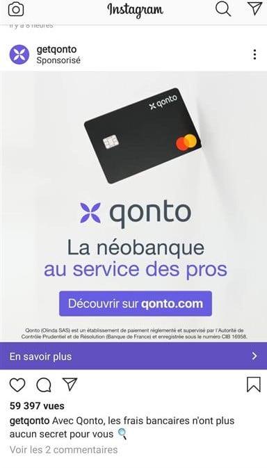 exemple de campagne display ads Instagram Qonto