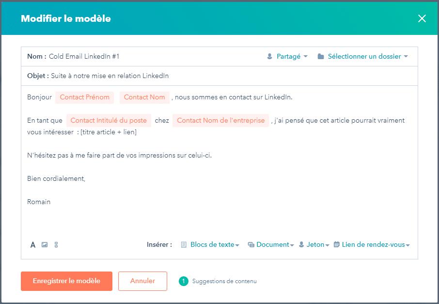 Capture d'écran d'un modèle de cold emailing utilisé chez Lead Generator