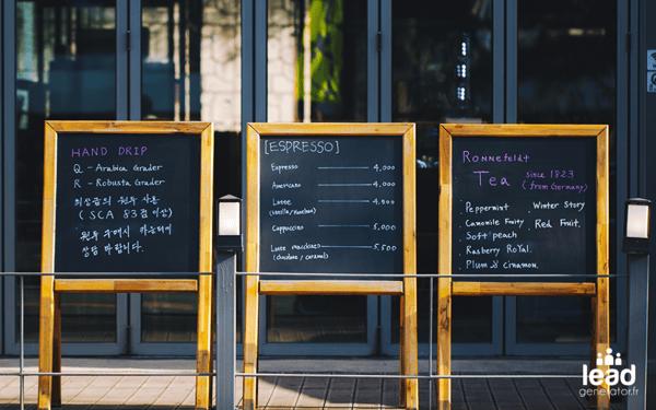 Photo de 3 panneaux de menus restaurant pour image les prix d'un audit de site web