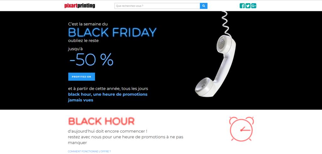 capture d'écran de la page d'accueil du site pixartprinting avec slider black friday
