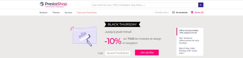 Capture d'écran du site prestashop avec bannière spéciale black frida
