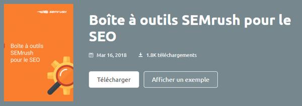 call-to-action de l'outils SEMrush