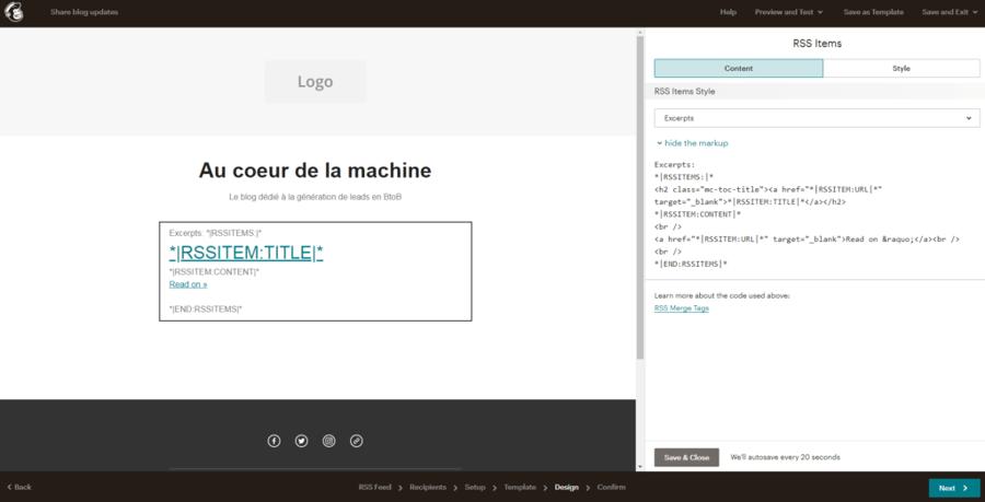 Capture d'écran de la solution de arketing automation mailchimp