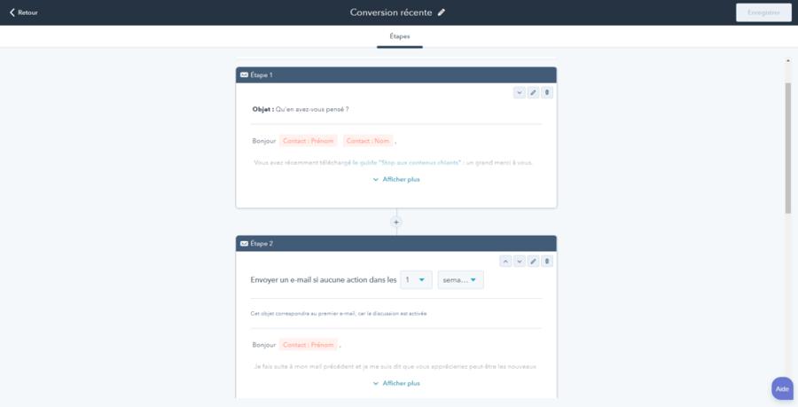 Les séquences de mail automatiques sont relativement simples à construire et à modifier dans HubSpot