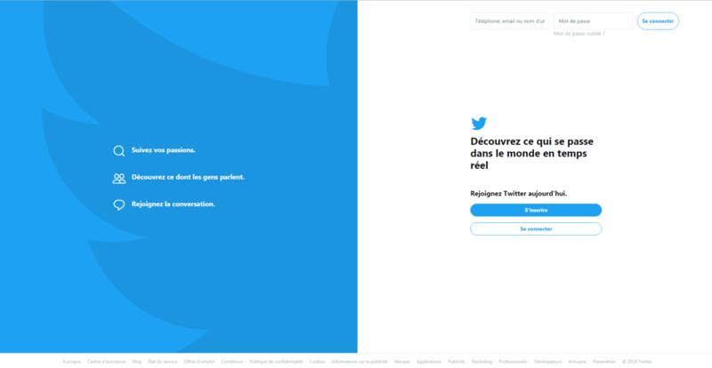 Landing page d'inscription à twitter faisant partie des réseaux sociaux btob le plus utilisé en vente btob