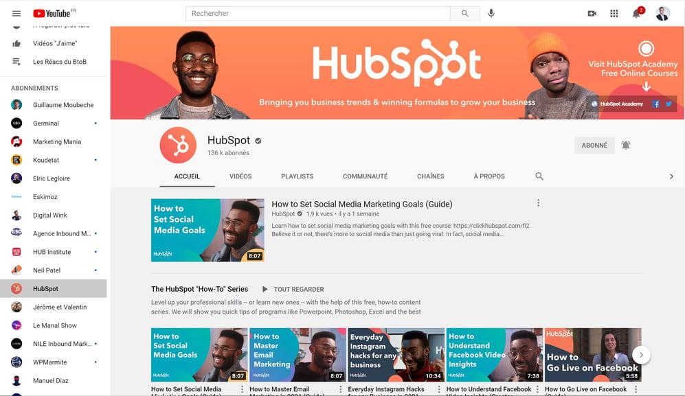 Capture d'écran de la chaîne youtube hubspot