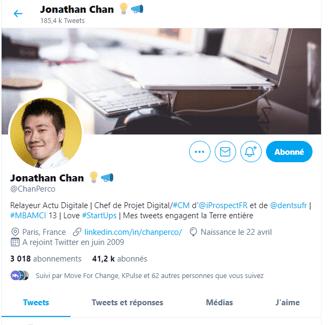 Capture d'écran d'un compte twitter d'un influenceur b2b