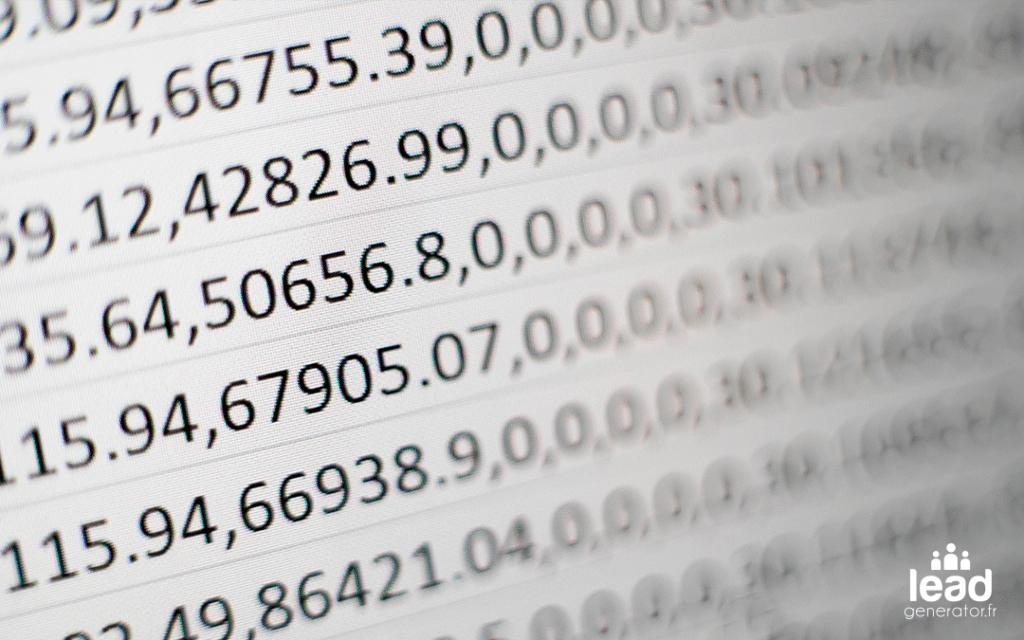 Photo d'un tableur pour imager la prospection avec Excel