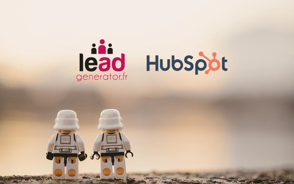 photo de 2 legos avec le logo lead generator et le logo hubspot