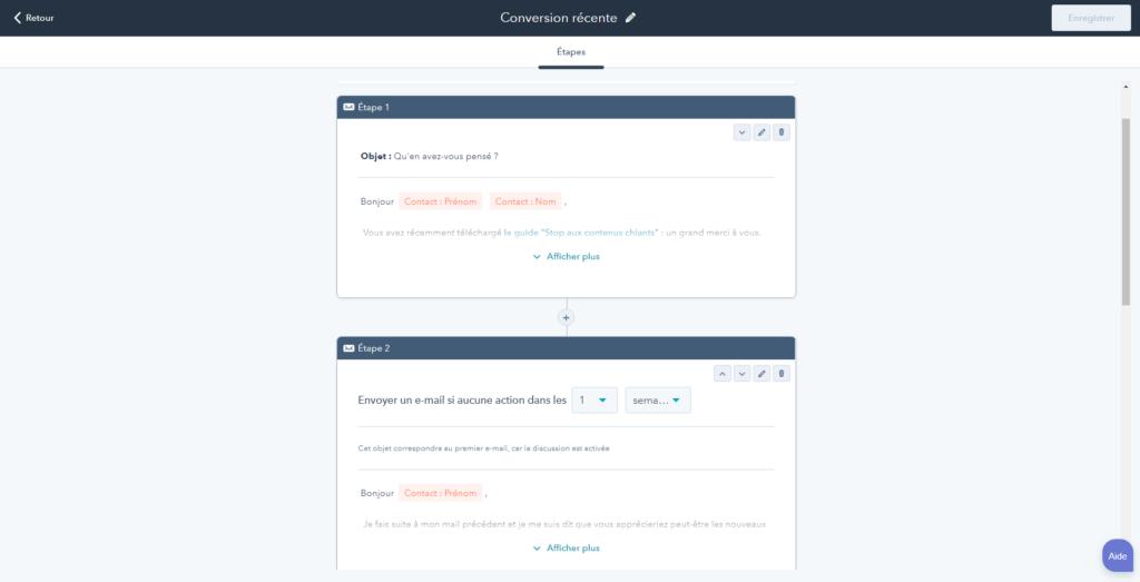 Capture d'écran des séquences de mail automatiques