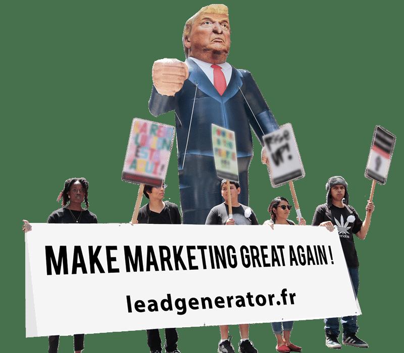 Photo caricature de donald trump pour symboliser le message stop au marketing à la papa