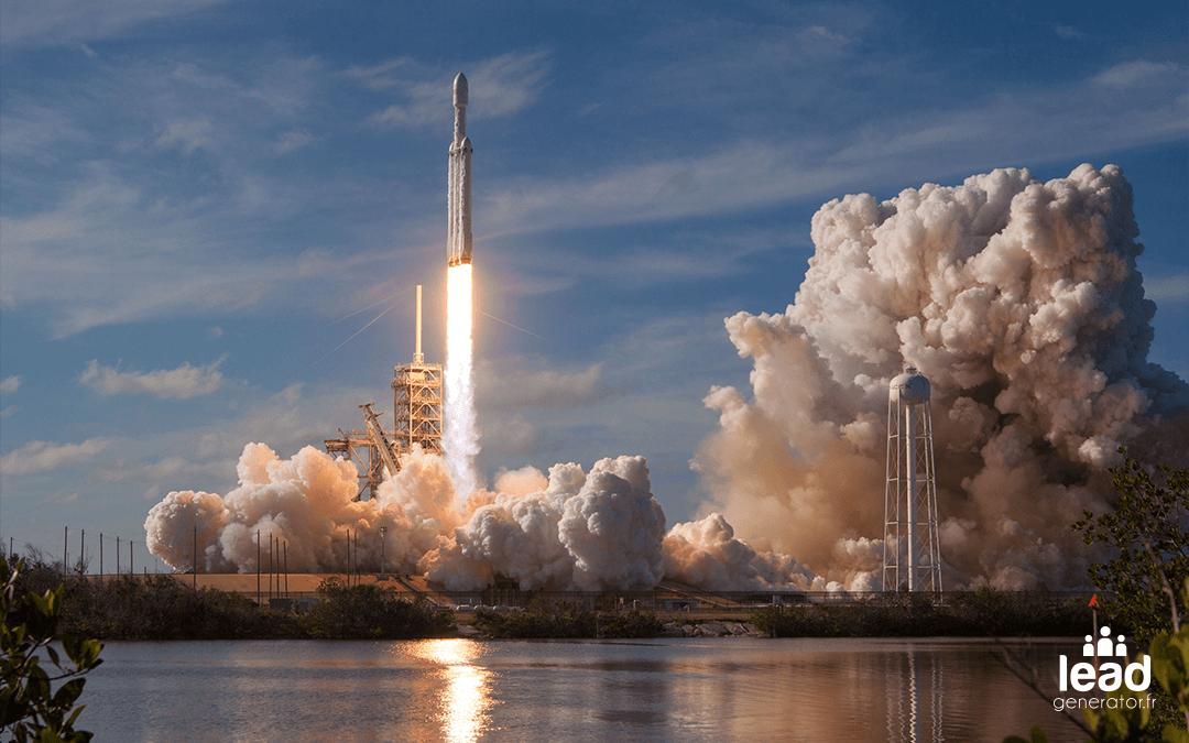 Photo d'un décollage de fusée pour illustrer la croissance rapide avec la génération de leads